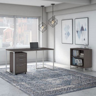 Kathy Ireland by Bush Method Collection 60W Desk with Mobile Pedestal and Bookcase Storm Gray - MTH008SGSU