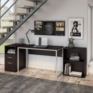 Bush Furniture Torte Computer Desk w File Cabinet and Bookcase - TRU199EO-03