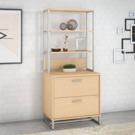 Kathy Ireland by Bush Method Collection Lateral File with Hutch Natural Maple - MTH012ACSU