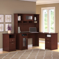 """Bush Cabot Collection L-Shaped Desk with Hutch and 2-Drawer Pedestal 60""""W Harvest Cherry - CAB018HVD"""
