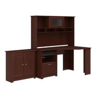 "Bush Cabot Collection Corner Desk with Low Cabinet 60""W Harvest Cherry - CAB022HVC"
