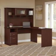 Bush Cabot Collection L-Shaped Desk w Hutch Harvest Cherry - CAB046HVC