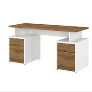 "Bush Business Furniture Jamestown 60""W Desk w Drawers - JTN017FWWHSU"