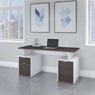 "Bush Business Furniture Jamestown 60""W Desk w Drawers and Storage Cabinet - JTN015SGWHSU"