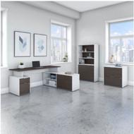 "Bush Business Furniture Jamestown 60""W L-Shaped Desk Package - JTN023SGWHSU"