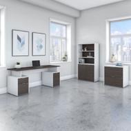 "Bush Business Furniture Jamestown 72""W Desk Package - JTN007SGWHSU"