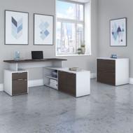 "Bush Business Furniture Jamestown 60""W L-Shaped Desk w Lateral File - JTN022SGWHSU"