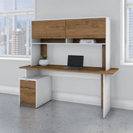 "Bush Business Furniture Jamestown Single Pedestal Desk with Hutch 72"" - JTN002FWWHSU"
