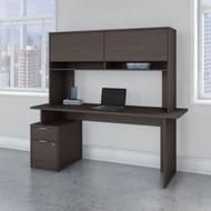 "Bush Business Furniture Jamestown Single Pedestal Desk with Hutch 72"" - JTN002SGSU"