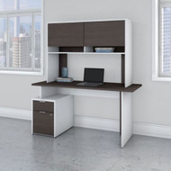 Bush Business Furniture Jamestown 60W Desk with 2 Drawers and Hutch - JTN014SGWHSU