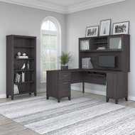 "Bush Furniture Somerset 60""W L Shaped Desk with Hutch and Bookcase Storm Gray - SET010SG"
