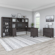 "Bush Furniture Somerset 72""W L Shaped Desk with Hutch, Lateral File and Bookcase Storm Gray - SET012SG"