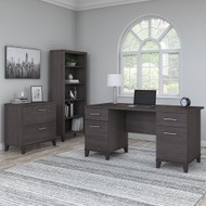 "Bush Furniture Somerset 60"" Desk with Lateral File and Bookcase Storm Gray - SET013SG"