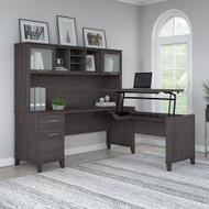 "Bush Furniture Somerset 72""W Sit-to-Stand 3-Position L-Shaped Desk with Hutch Storm Gray - SET015SG"