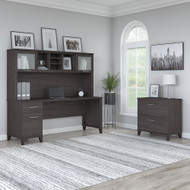 """Bush Furniture Somerset 72""""W Desk with Hutch and Lateral File - SET019SG"""