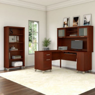 "Bush Furniture Somerset 60""W L Shaped Desk with Hutch and Bookcase Hansen Cherry - SET010HC"