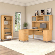 "Bush Furniture Somerset 60""W L Shaped Desk with Hutch and Bookcase Maple Cross - SET010MC"