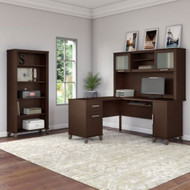 "Bush Furniture Somerset 60""W L Shaped Desk with Hutch and Bookcase Mocha Cherry - SET010MR"