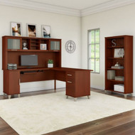 "Bush Furniture Somerset 72""W L Shaped Desk with Hutch and Bookcase Hansen Cherry - SET011HC"