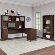 "Bush Furniture Somerset 72""W L Shaped Desk with Hutch and Bookcase Mocha Cherry - SET011MR"
