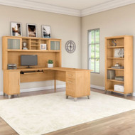 "Bush Furniture Somerset 72""W L Shaped Desk with Hutch and Bookcase Maple Cross - SET011MC"