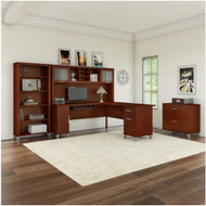 "Bush Furniture Somerset 72""W L Shaped Desk with Hutch, Lateral File and Bookcase Hansen Cherry - SET012HC"