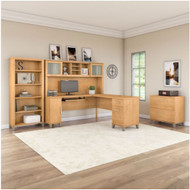 """Bush Furniture Somerset 72""""W L Shaped Desk with Hutch, Lateral File and Bookcase Maple Cross - SET012MC"""