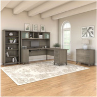 """Bush Furniture Somerset 72""""W L Shaped Desk with Hutch, Lateral File and Bookcase Ash Gray - SET012AG"""