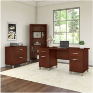 "Bush Furniture Somerset 60"" Desk with Lateral File and Bookcase Hansen Cherry - SET013HC"