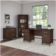 """Bush Furniture Somerset 60"""" Desk with Lateral File and Bookcase Mocha Cherry - SET013MR"""