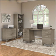 "Bush Furniture Somerset 60"" Desk with Lateral File and Bookcase Ash Gray - SET013AG"