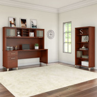 """Bush Furniture Somerset 72""""W with Hutch and Bookcase - SET020HC"""
