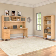 """Bush Furniture Somerset 72""""W with Hutch and Bookcase - SET020MC"""