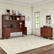 """Bush Furniture Somerset 72""""W Desk with Hutch and Lateral File - SET019HC"""