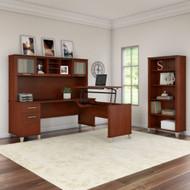 """Bush Furniture Somerset 72""""W Sit-to-Stand 3-Position L-Shaped Desk with Bookcase and Hutch Hansen Cherry - SET017HC"""