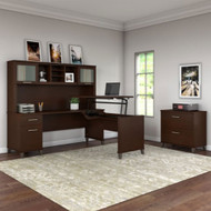 "Bush Furniture Somerset 72""W Sit-to-Stand 3-Position L-Shaped Desk with Bookcase and Hutch Mocha Cherry - SET017MR"