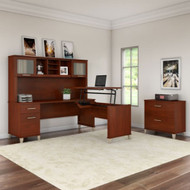 "Bush Furniture Somerset 72""W Sit-to-Stand 3-Position L-Shaped Desk with Lateral File and Hutch Hansen Cherry - SET016HC"