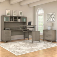 """Bush Furniture Somerset 72""""W Sit-to-Stand 3-Position L-Shaped Desk with Lateral File and Hutch Ash Gray - SET016AG"""