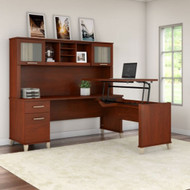 "Bush Furniture Somerset 72""W Sit-to-Stand 3-Position L-Shaped Desk with Hutch Hansen Cherry - SET015HC"