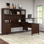 "Bush Furniture Somerset 72""W Sit-to-Stand 3-Position L-Shaped Desk with Hutch Mocha Cherry - SET015MR"