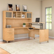 """Bush Furniture Somerset 72""""W Sit-to-Stand 3-Position L-Shaped Desk with Hutch Maple Cross - SET015MC"""