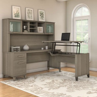 "Bush Furniture Somerset 72""W Sit-to-Stand 3-Position L-Shaped Desk with Hutch Ash Gray - SET015AG"