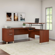 "Bush Furniture Somerset 72""W Sit-to-Stand 3-Position L-Shaped Desk Hansen Cherry - SET014HC"