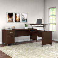"Bush Furniture Somerset 72""W Sit-to-Stand 3-Position L-Shaped Desk Mocha Cherry - SET014MR"