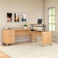 "Bush Furniture Somerset 72""W Sit-to-Stand 3-Position L-Shaped Desk Maple Cross - SET014MC"