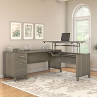 "Bush Furniture Somerset 72""W Sit-to-Stand 3-Position L-Shaped Desk Ash Gray - SET014AG"