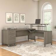 "Bush Furniture Somerset 72""W Sit-to-Stand 3-Position L-Shaped Desk Ash Gray - SET014AG"