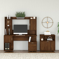 Kathy Ireland by Bush Industries Madison Avenue 60W Desk w Hutch and Lateral File Cabinet - MDS011MW