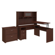 Bush Cabot Collection 60W L-Shaped Sit-to-Stand Desk w Hutch and Lateral File Cabinet - CAB047HVC