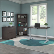 """Bush Cabot Collection 48""""W Height Adjustable Standing Desk w File Cabinet and Bookcase Heather Gray - CAB064HRG"""